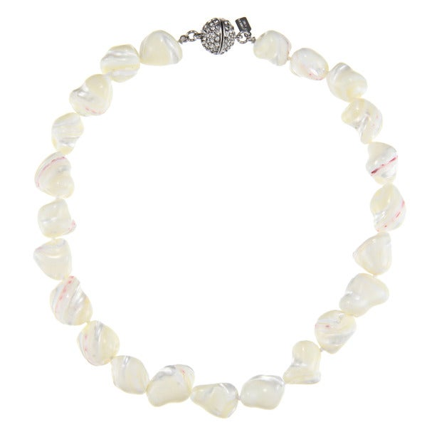 Kenneth Jay Lane Mother of Pearl 16-inch Necklace with Crystal Clasp