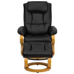Contemporary Black Leather Recliner and Ottoman - Thumbnail 1