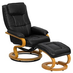 Contemporary Black Leather Recliner and Ottoman