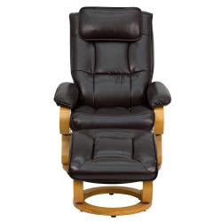 Contemporary Brown Leather Recliner and Ottoman