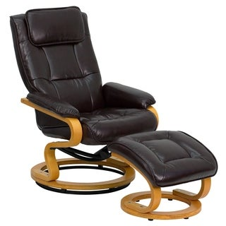 Lancaster Home Brown Leather Contemporary Recliner and Ottoman