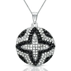 Auriya 14k White Gold 1/2ct TDW Black and White Diamond Necklace
