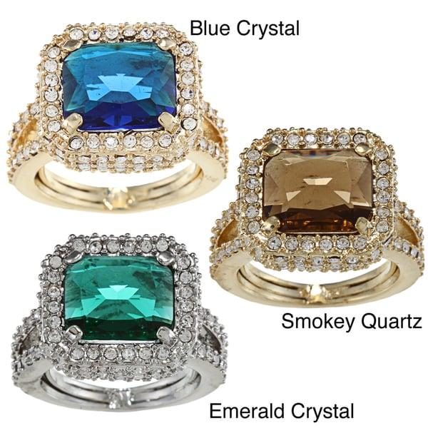 ABS by Allen Schwartz Emerald Cut Crystal Adjustable Ring