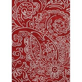 Hand-made Sabrina Red New Zealand Blend Wool Rug (5' x 8')