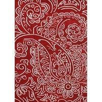 Hand-made Sabrina Red New Zealand Blend Wool Rug (5' x 8') - 5' x 8'