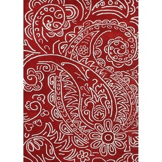 Hand-made Sabrina Red New Zealand Blend Wool Rug (5' x 8') - 5' x 8'