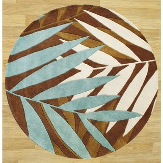 Alliyah Handmade Brown New Zeeland Blend Wool Area Rug (6' Round)