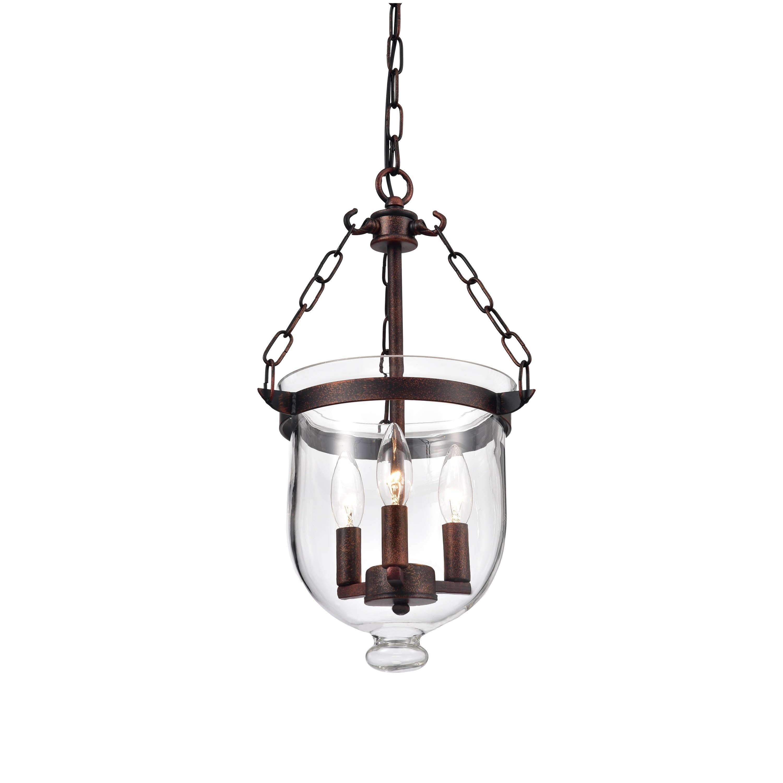 Porch & Den Cherrywood Schieffer Antique Copper Finish Glass Lantern Chandelier