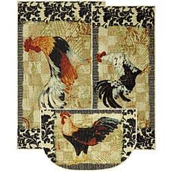 Bergerac Rooster Three Piece Kitchen Rug Set Overstock 6644555