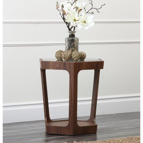 Abbyson Living Marquis Glass Walnut End Table