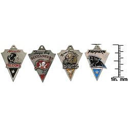 Carolina Glamour Collection Pewter Unisex NFC South Team Licensed NFL Pennant Necklace - Thumbnail 2