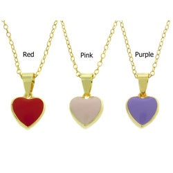 Molly and Emma 14k Gold Overlay Children's Enamel Heart Necklace