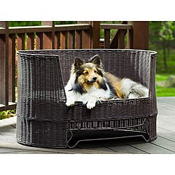 Awe Inspiring Wicker Dog Day Bed W Outdoor Cushion Overstock Com Shopping The Best Deals On Dog Sofas Chair Beds Andrewgaddart Wooden Chair Designs For Living Room Andrewgaddartcom