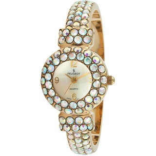 Peugeot Women's Goldtone Crystal Glitz Cuff Watch