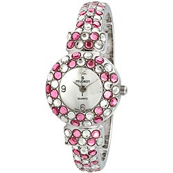 Peugeot Women's Silvertone Glitz Cuff Watch