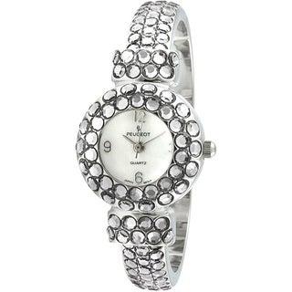 Peugeot Women's Silvertone Crystal Glitz Cuff Watch