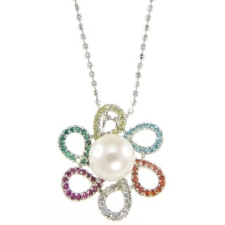 Pearlz Ocean White Freshwater Pearl and Multi-colored Cubic Zirconia Flower Pendant Necklace