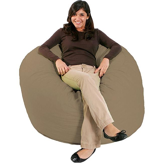 FufSack Tan Microfiber Bean Bag Chair