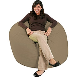 FufSack Tan Microfiber Bean Bag Chair
