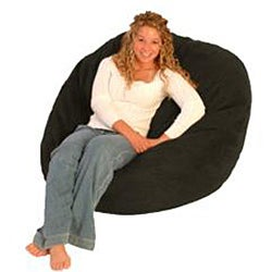 FufSack Black Microfiber Bean Bag Chair