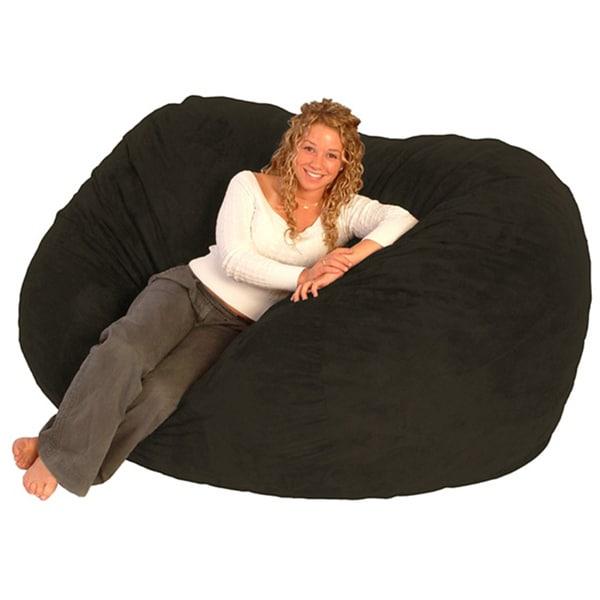 Fufsack Black Microfiber 6 Foot Bean Bag Chair