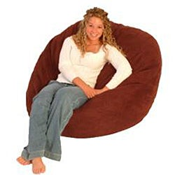 FufSack Double-Stitched Cinnabar Red Microfiber Bean Bag Chair - Thumbnail 1