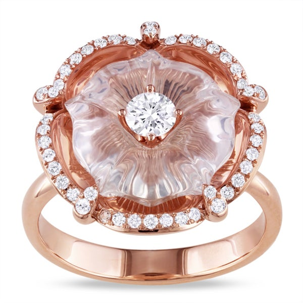 Miadora Signature Collection 14k Pink Gold Rose Quartz and 1/2ct TDW Diamond Ring (G-H, SI2)