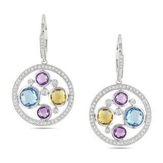 Miadora Signature Collection 14k Gold Multi-gemstone and 3/4ct TDW Diamond Earrings (G-H, SI1-SI2)