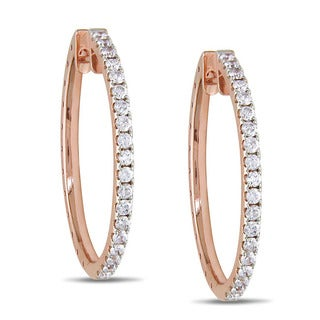 Miadora 14k Rose Gold 1 1/2ct TDW Diamond Hoop Earrings