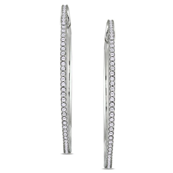 Miadora 10k White Gold 1/2ct TDW Diamond Hoop Earrings