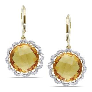 Miadora 14k Yellow Gold Citrine and 1/4ct TDW Diamond Earrings (G-H, SI1)