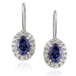 Icz Stonez Sterling Silver Blue Cubic Zirconia Leverback Earrings (3 1/10ct TGW)