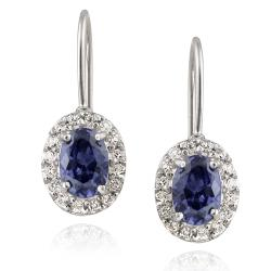 Icz Stonez Sterling Silver Blue Cubic Zirconia Leverback Earrings (3 1/10ct TGW)