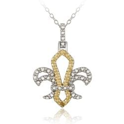 DB Designs Two-tone Silver Yellow Diamond Accent Fleur de Lis Necklace