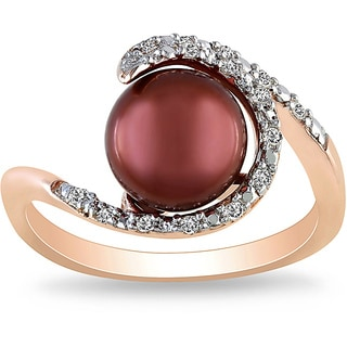 Miadora 18k Gold/ Silver Brown Pearl and 1/10ct TDW Diamond Ring (H-I, I3)