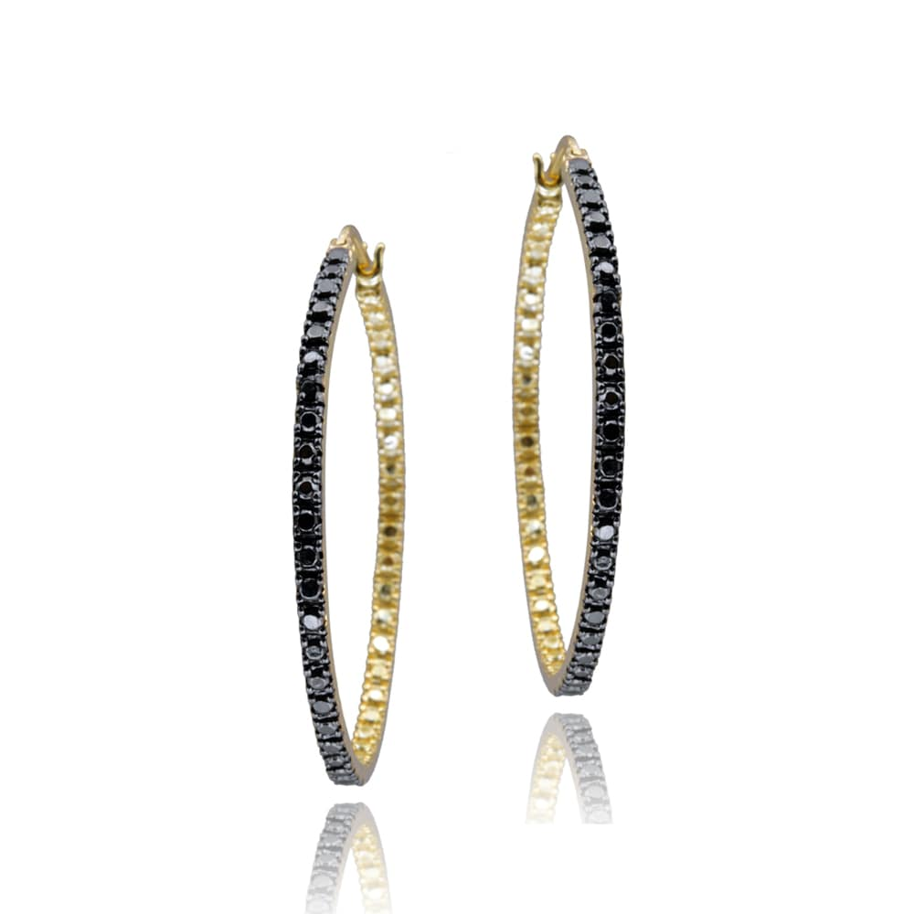 DB Designs 18k Gold over Silver Black Diamond Accent 32-mm Hoop Earrings