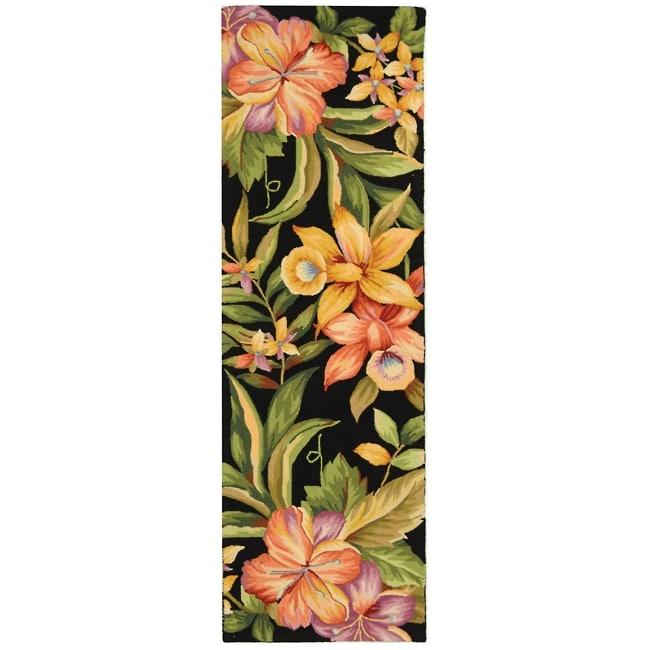 "Safavieh Hand-hooked Botanical Black Wool Rug - 2'6"" x 6'"