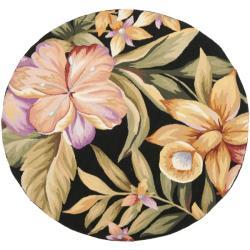 Safavieh Hand-hooked Botanical Black Wool Rug (4' Round)
