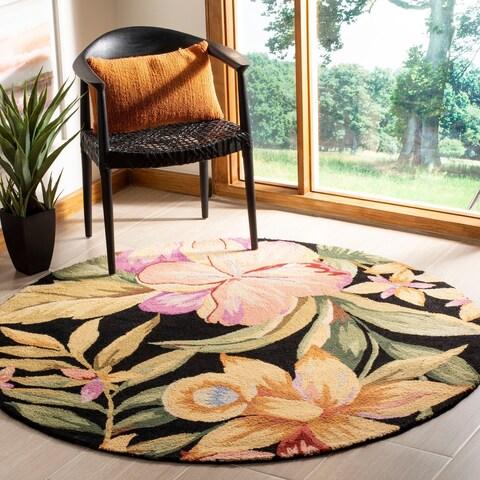 Safavieh Hand-hooked Botanical Black Wool Rug - 4' x 4' Round