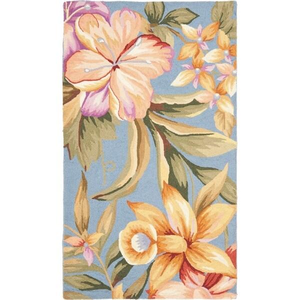 "Safavieh Hand-hooked Botanical Blue Wool Rug - 2'-9"" x 4'-9"""