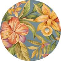 Safavieh Hand-hooked Botanical Blue Wool Rug - 3' x 3' round