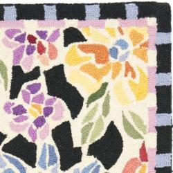 Safavieh Hand-hooked Floral Mosaic Black Wool Rug (1'8 x 2'6) - Thumbnail 1