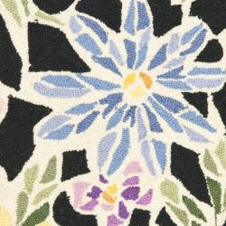 Safavieh Hand-hooked Floral Mosaic Black Wool Rug (1'8 x 2'6) - Thumbnail 2