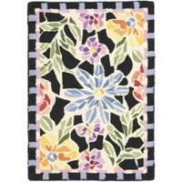 Safavieh Hand-hooked Floral Mosaic Black Wool Rug - 1'8 x 2'6