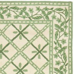 Safavieh Hand-hooked Diamonds Ivory/ Light Green Wool Rug (2'6 x 10') - Thumbnail 1