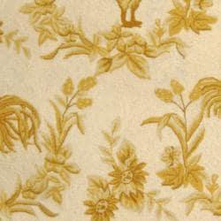 Safavieh Hand-hooked Hens Ivory/ Gold Wool Rug (7'6 x 9'9)
