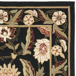 Safavieh Hand-hooked Ferns Black Wool Rug (3'9 x 5'9) - Thumbnail 1