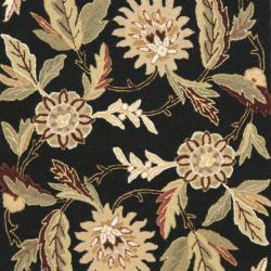 Safavieh Hand-hooked Ferns Black Wool Rug (3'9 x 5'9) - Thumbnail 2
