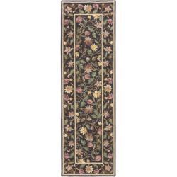 Safavieh Hand-hooked Floral Scrolls Purple Wool Rug (2'6 x 10')