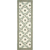 "Safavieh Hand-hooked Bees Ivory/ Blue Wool Rug - 2'6"" x 10'"